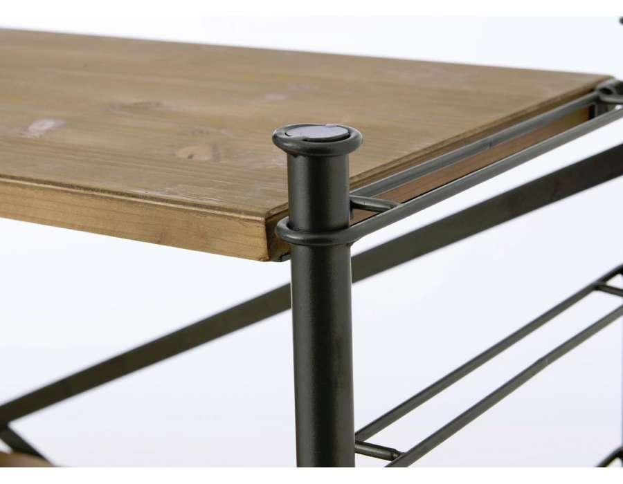 Console basse industrielle en métal et bois