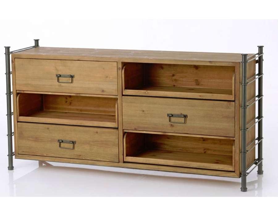 Buffet bas industriel en métal et bois 3 tiroirs