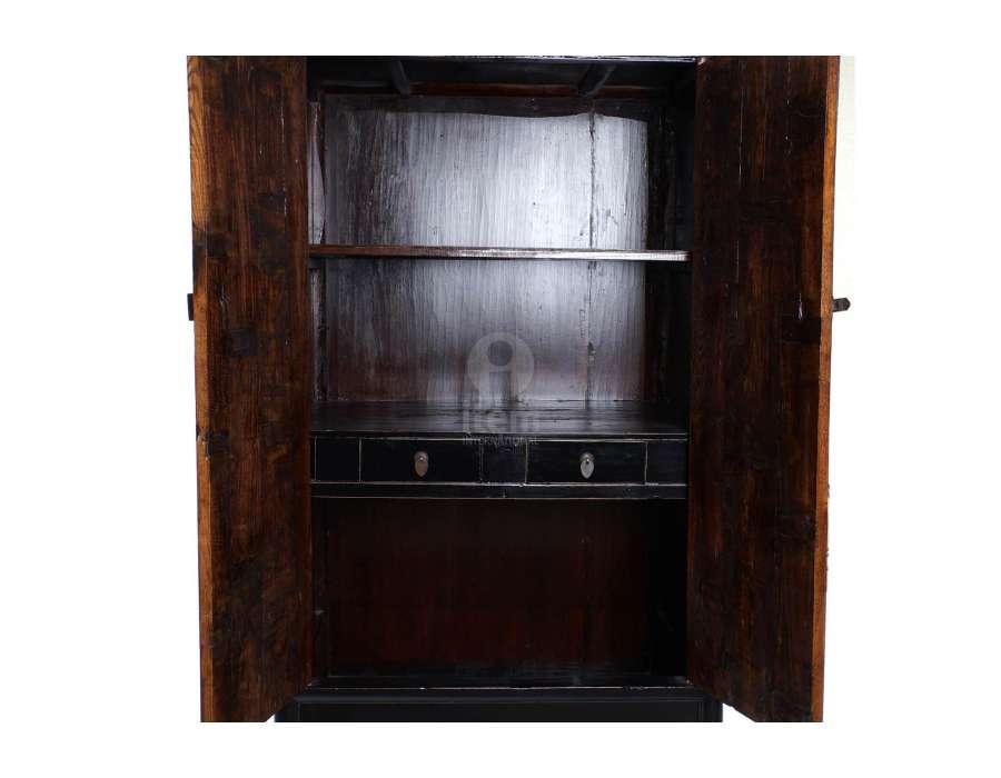Armoire laquée noire et bois chinoise