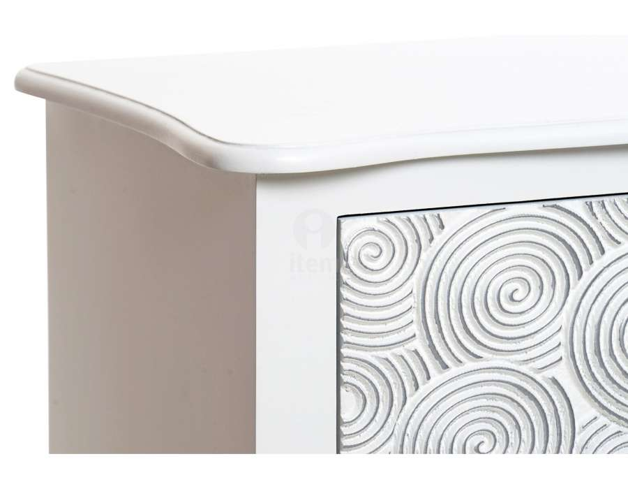 Commode blanche bois 5 tiroirs Romane