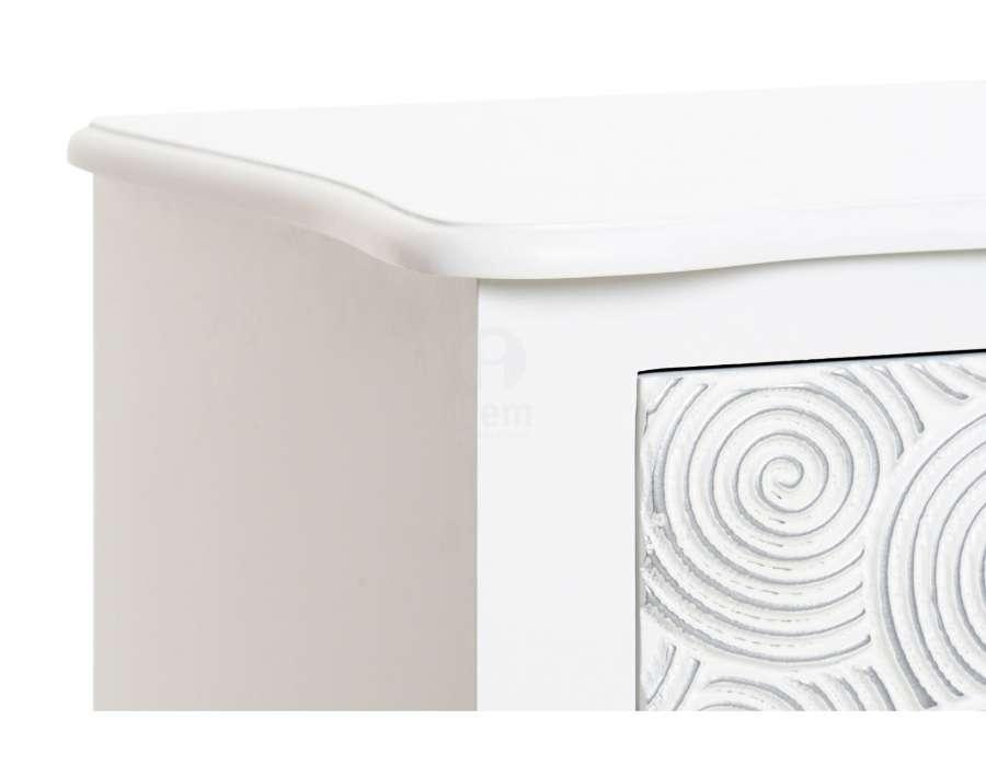 Chiffonnier blanc bois 4 tiroirs Romane