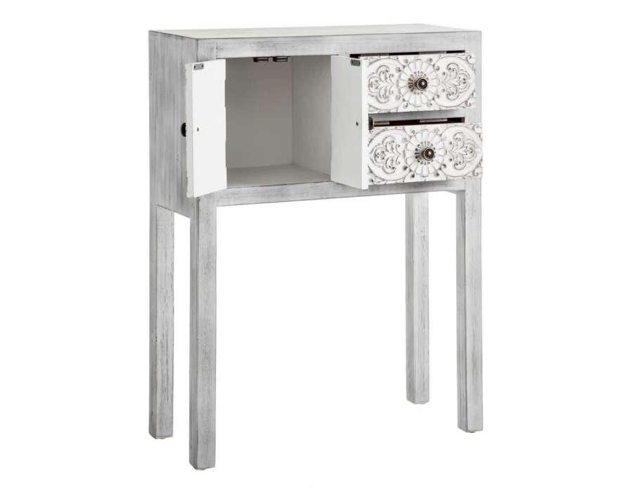 Petite console grise blanchie sculptée Emmy