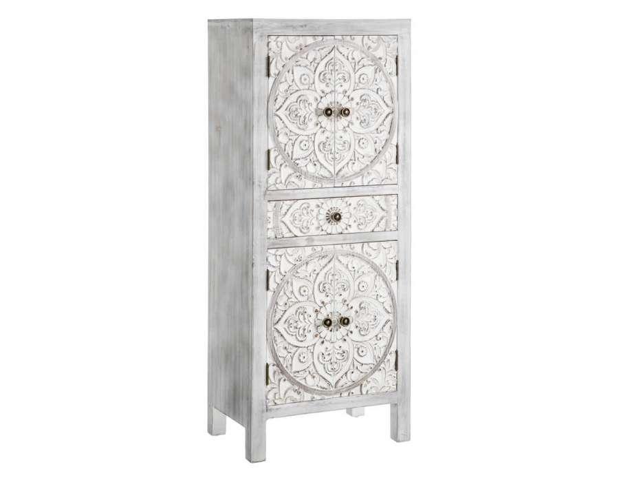 Armoire grise blanche sculptée 4 portes Emmy