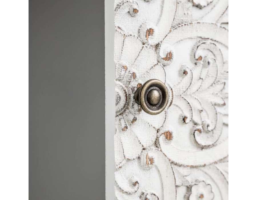 Meuble d'entrée gris blanchi sculpté Emmy