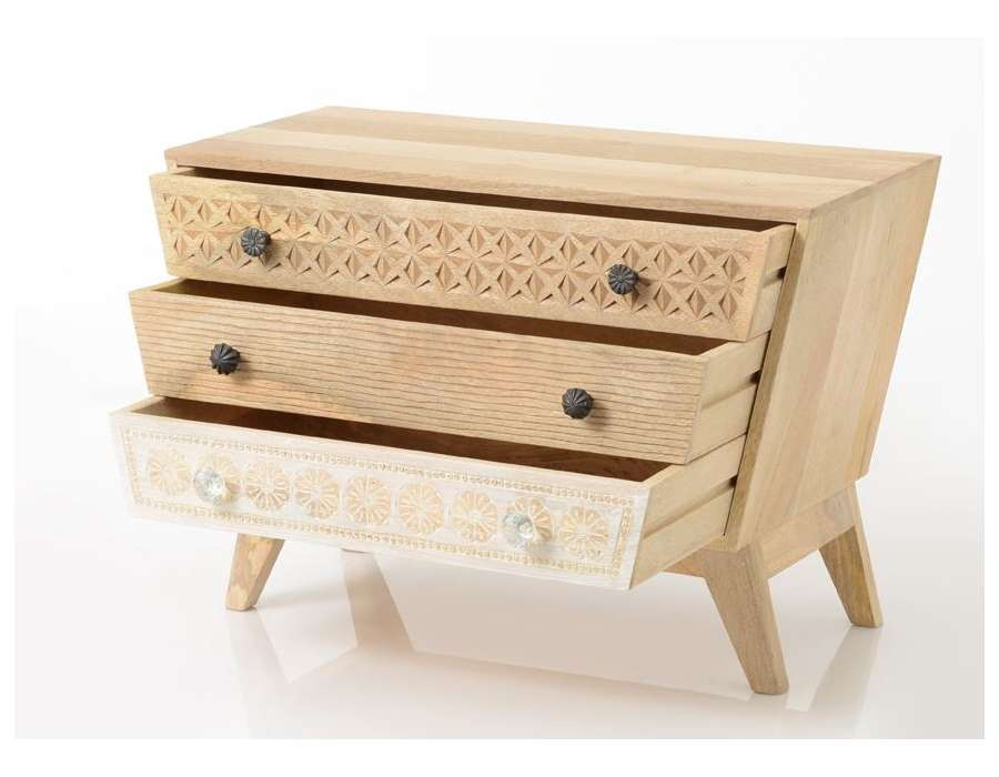 Commode bois sculpté oman 3 tiroirs