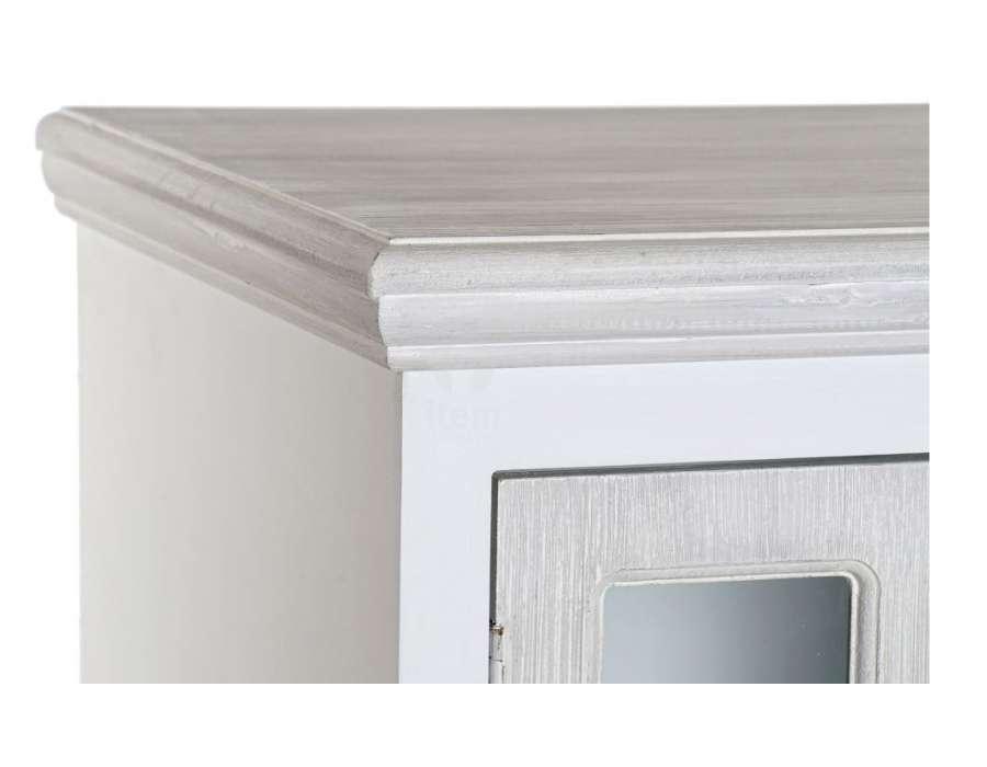 Meuble de rangement blanc et gris avec portes vitrées Elena