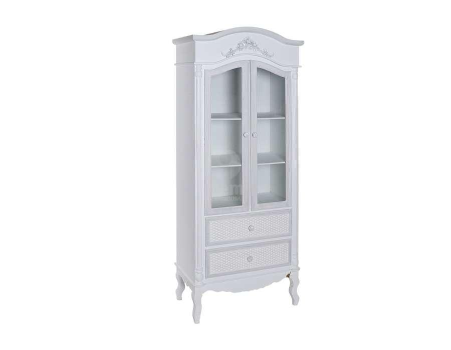 Armoire vitrée cérusée blanche et grise décorée