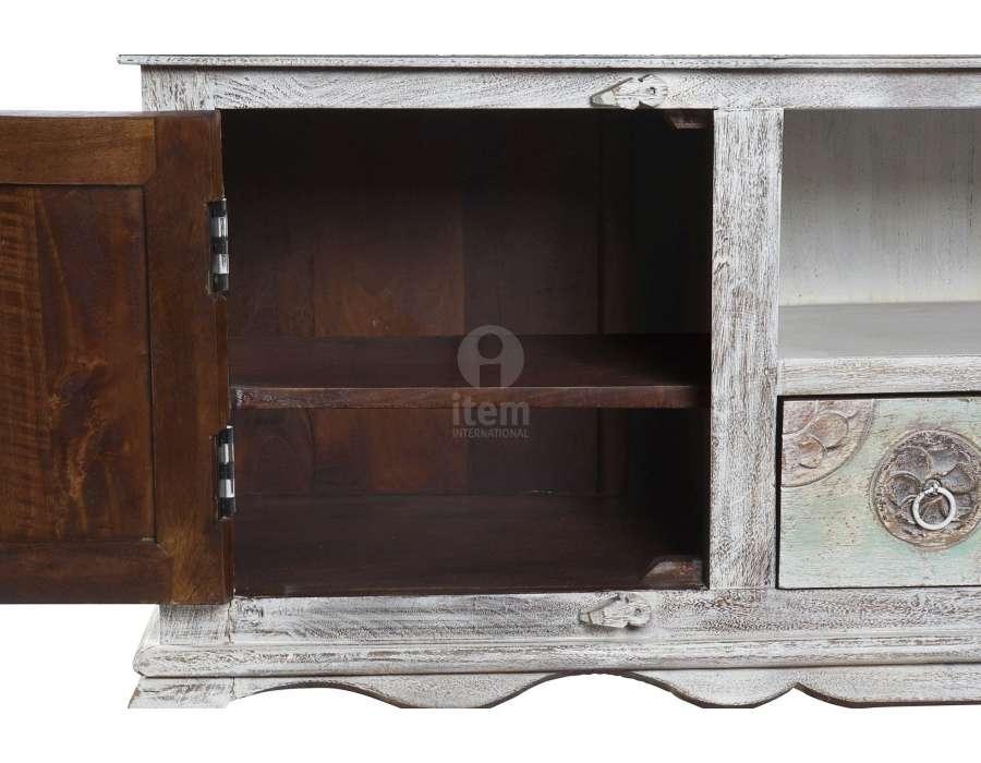 Meuble télé indien en bois blanchi sculpté