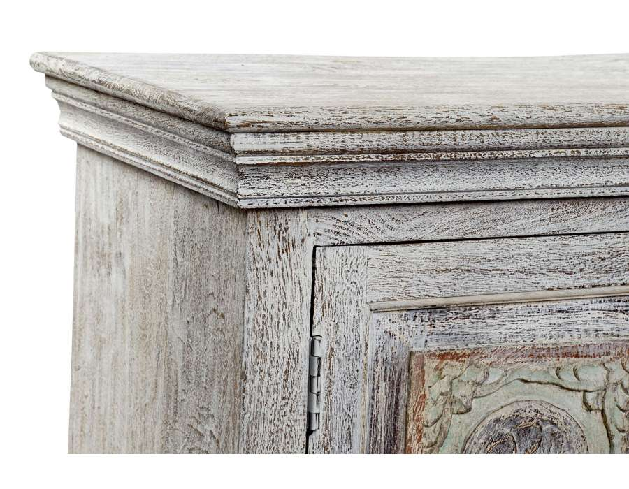 meuble tele indien en bois blanchi sculpte