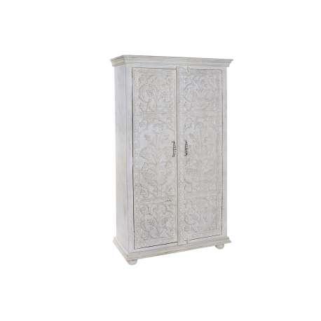 Armoire indienne sculptée blanche 2 portes