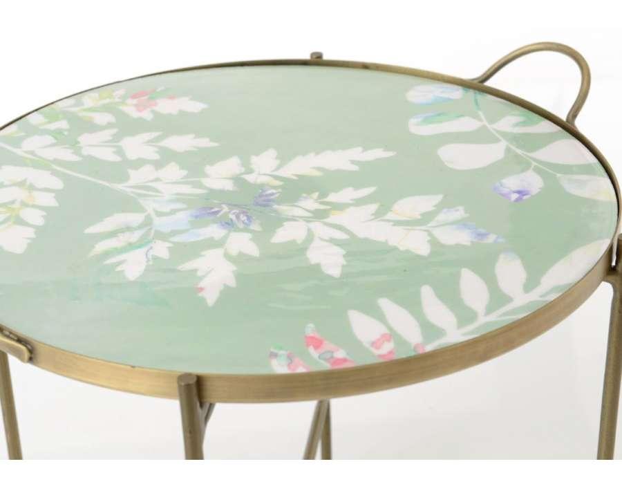 Bout de canapé rond plateau fleur  49 cm