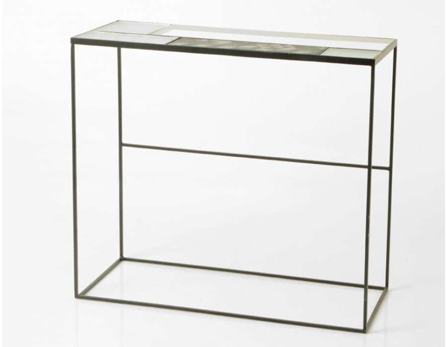 Console plateau verres composés et métal