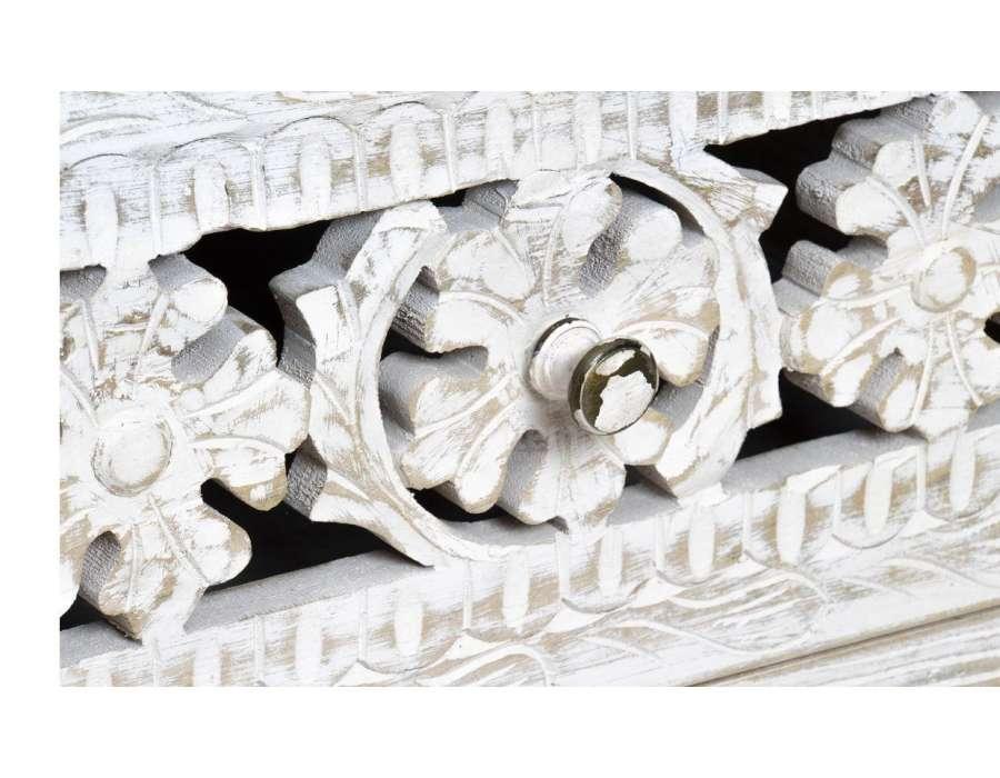 Commode sculptée bois cérusé 100 cm