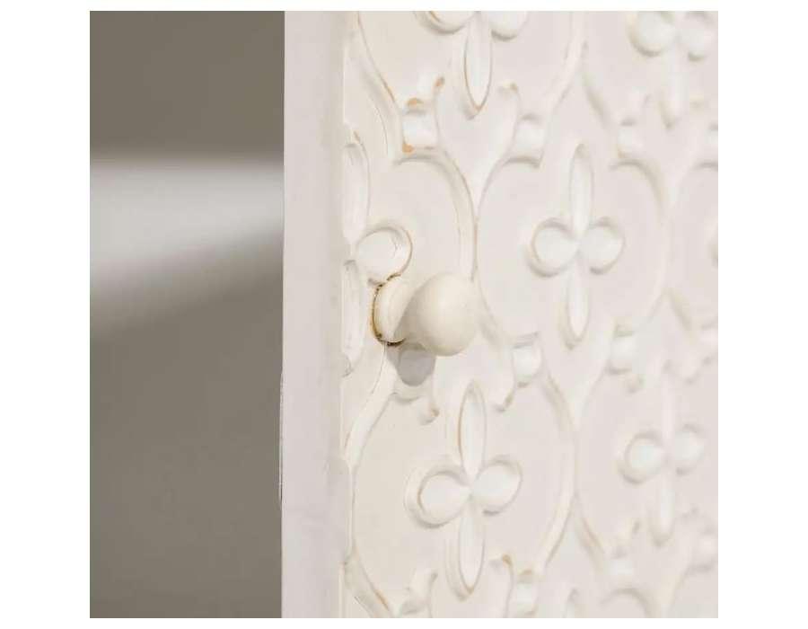 Meuble d'entrée sculpté crème cérusé Eugénie
