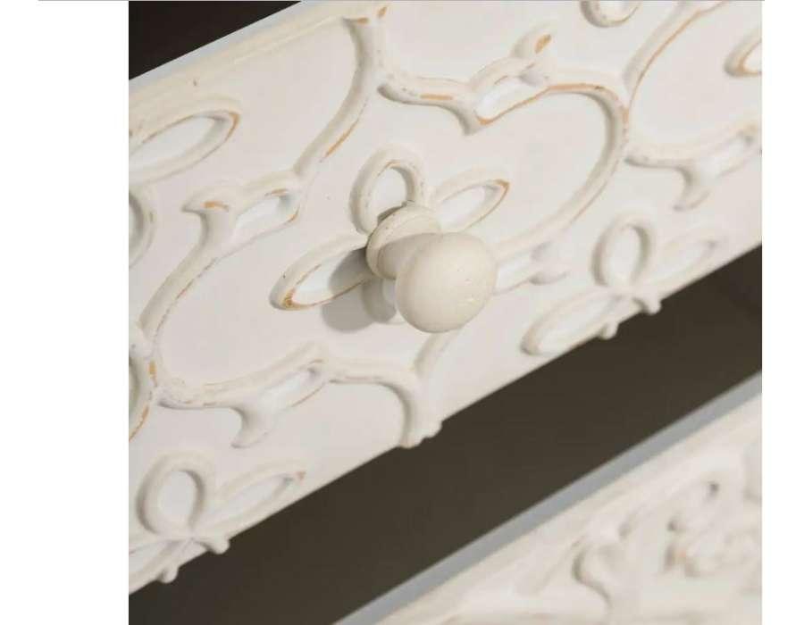Chevet sculpté crème cérusé Eugénie