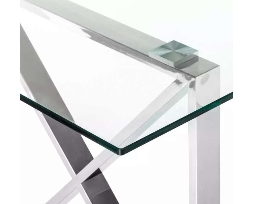 Table de salle à manger moderne acier croisé et verre