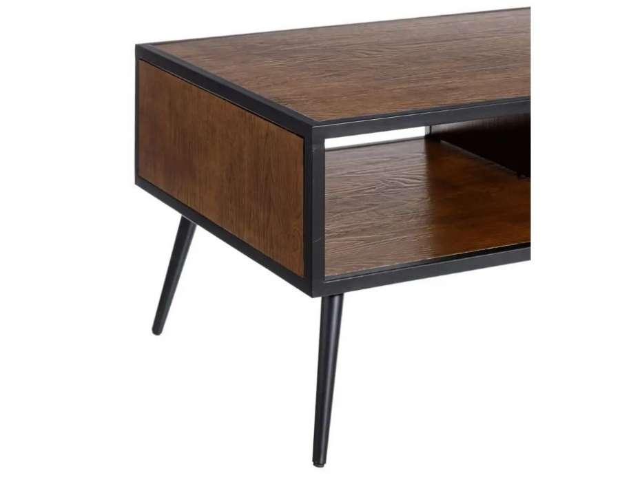 Table basse moderne bois foncé Firmin