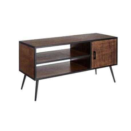 Meuble tv moderne ouverte en bois fonc et m tal noir - Meuble bois fonce ...