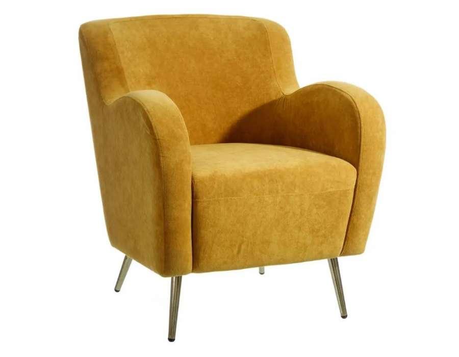 fauteuil jaune vintage en velours moderne contemporain. Black Bedroom Furniture Sets. Home Design Ideas