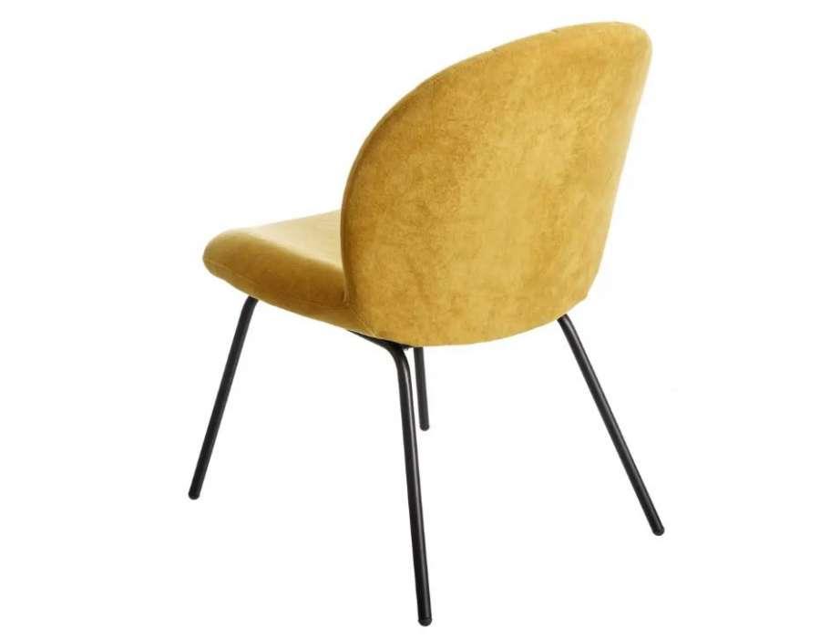 Chaise jaune en velours nuage