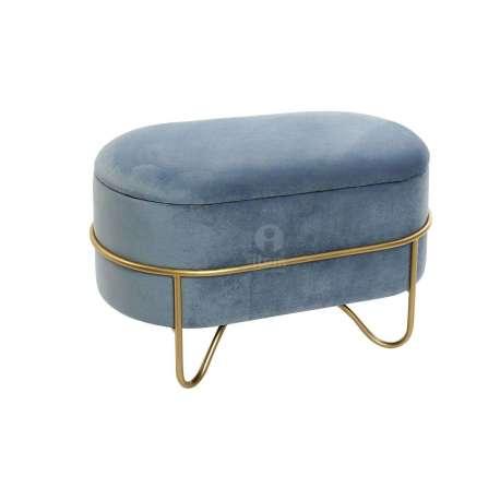 Banquette coffre bleu sur socle doré
