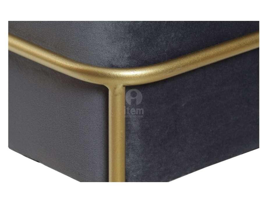 Pouf large gris sur socle doré