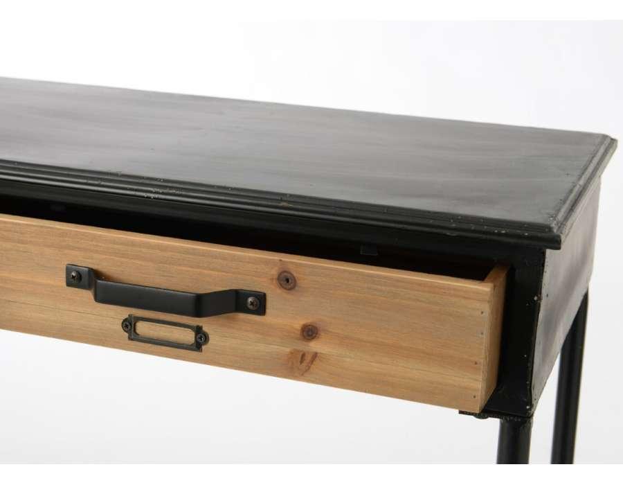 Petite console métal et bois industrielle Lois