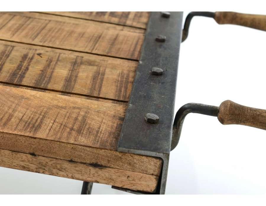 Table de salon industrielle brouette