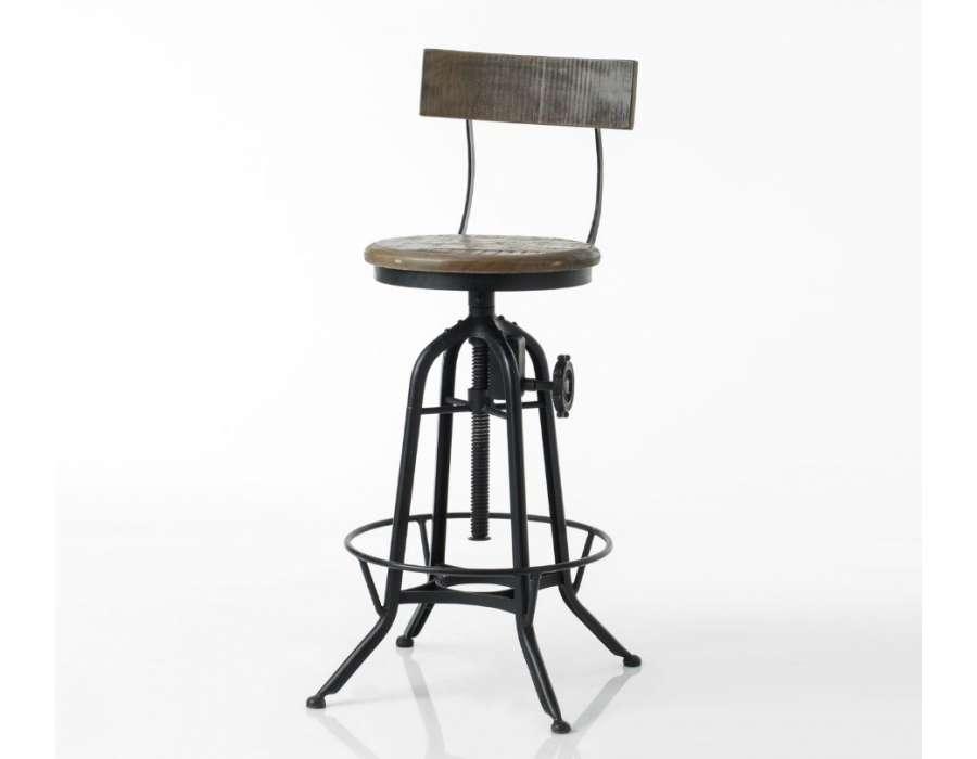 Chaise de bar industrielle avec mécanisme