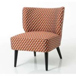 Fauteuil bas chauffeuse orange tapissée Vadim