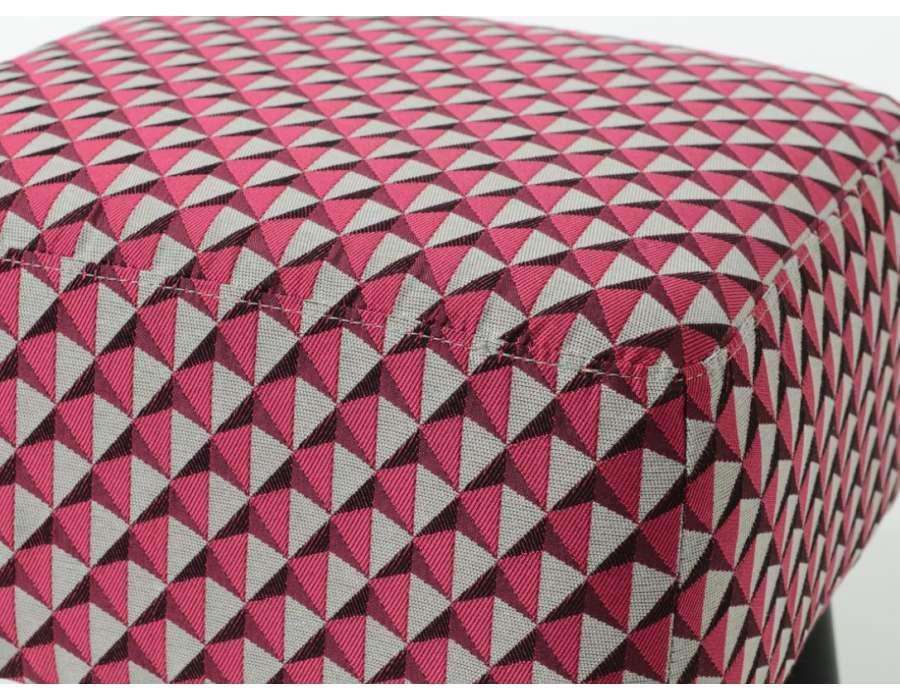 Tabouret rose et gris tapissé Amadeus