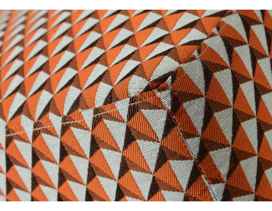 Tabouret orange et gris tapissé Amadeus