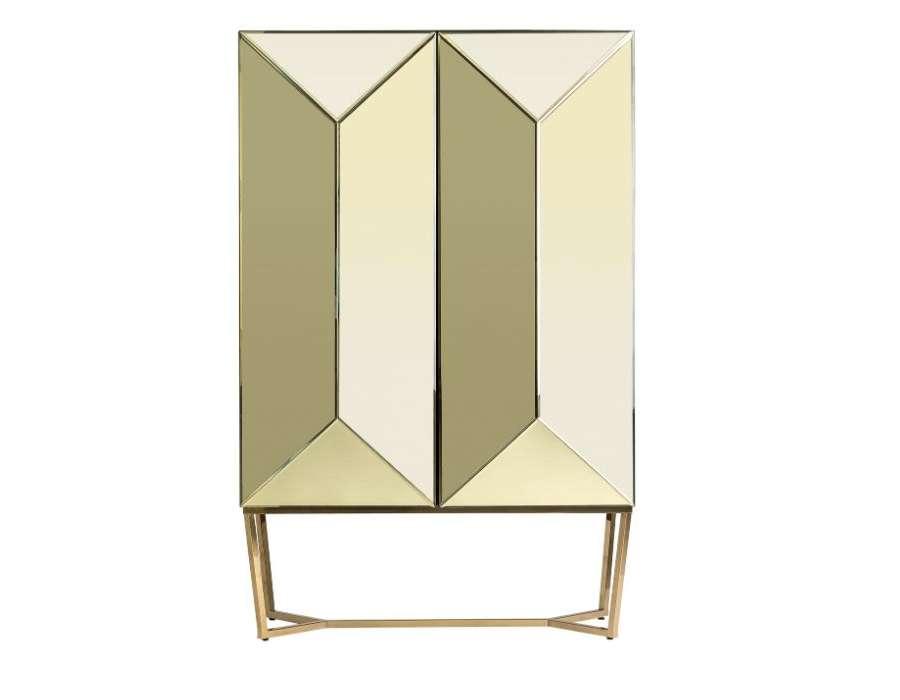 Armoire miroir design 2 portes dorées