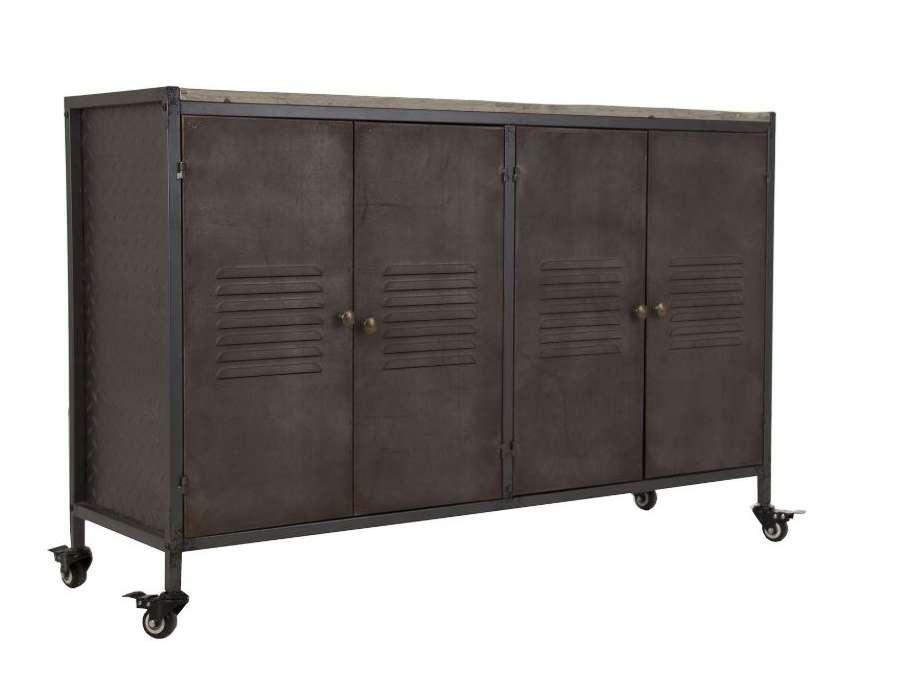 Buffet métal et bois 4 portes sur roues Vical Home