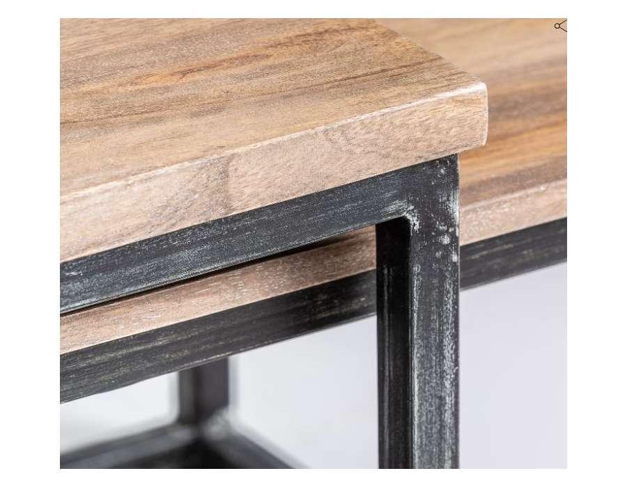 Tables de salon mix métal bois avec bouts de canapé