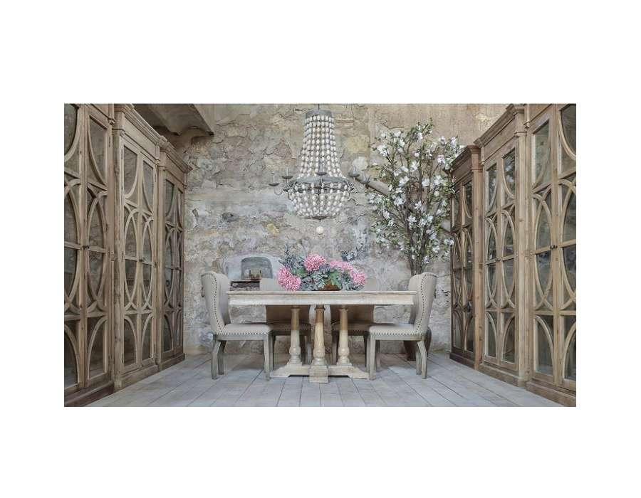 Grande table en bois cérusé pieds balustres