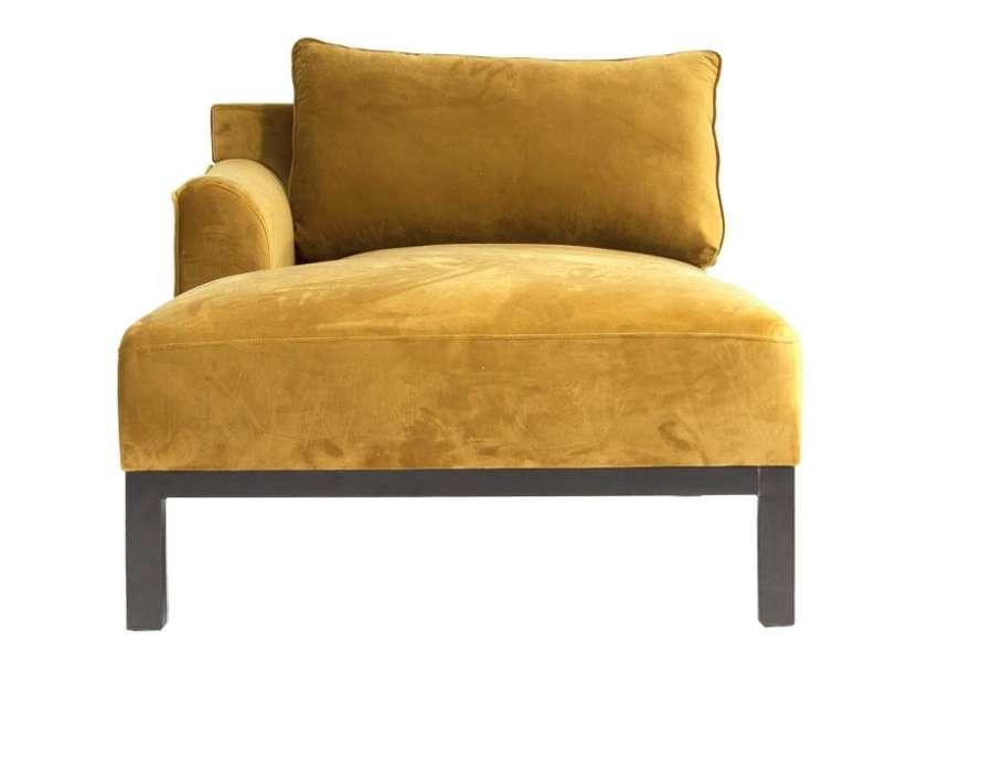 Chaise longue méridienne ocre doré
