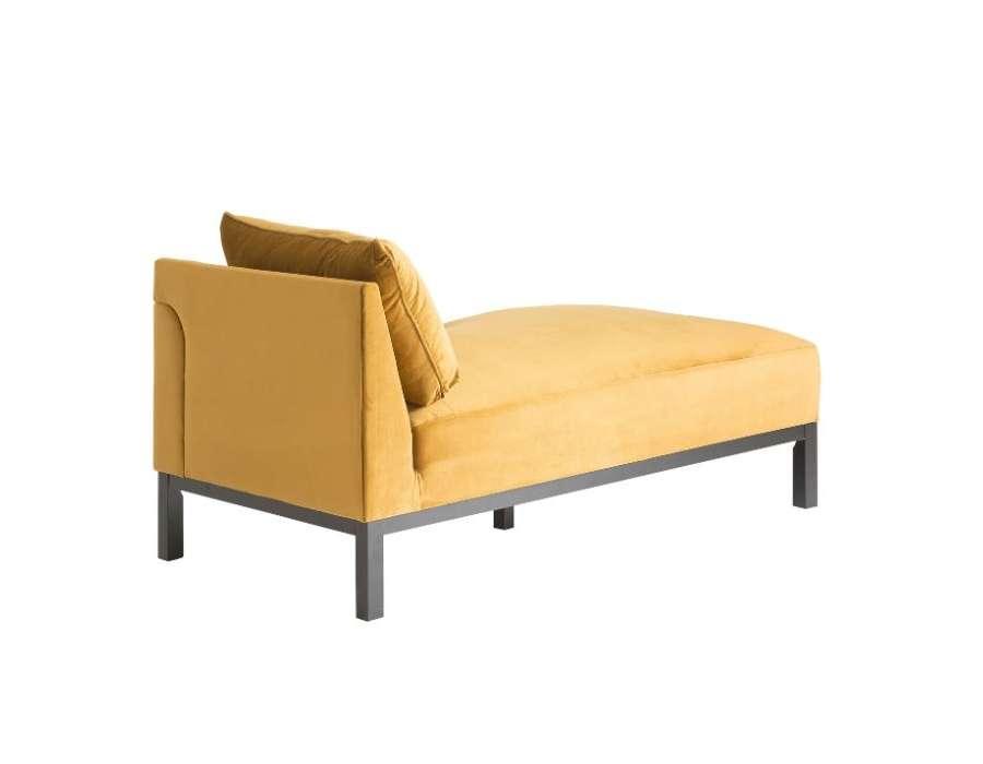 Chaise longue méridienne ocre dorée droit