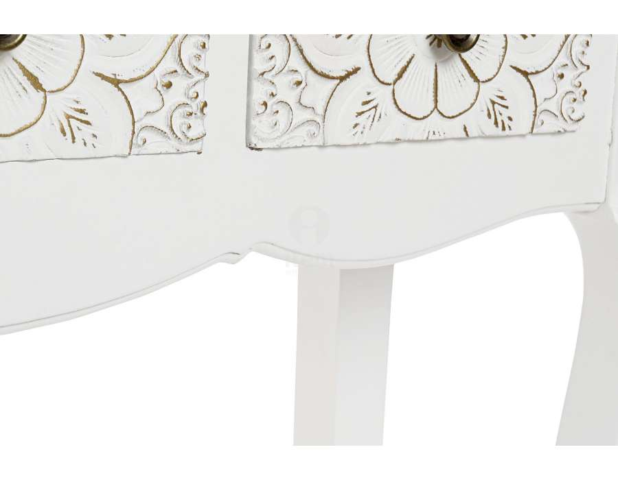 Console blanche 3 tiroirs sculptés Mandala
