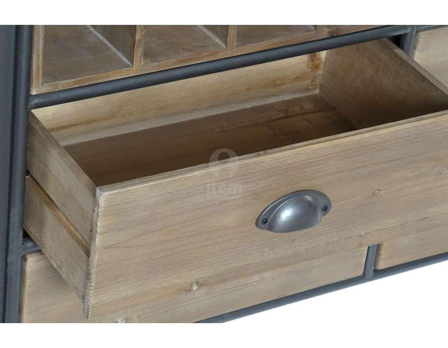 Meuble de bar vintage en métal et bois arrondi