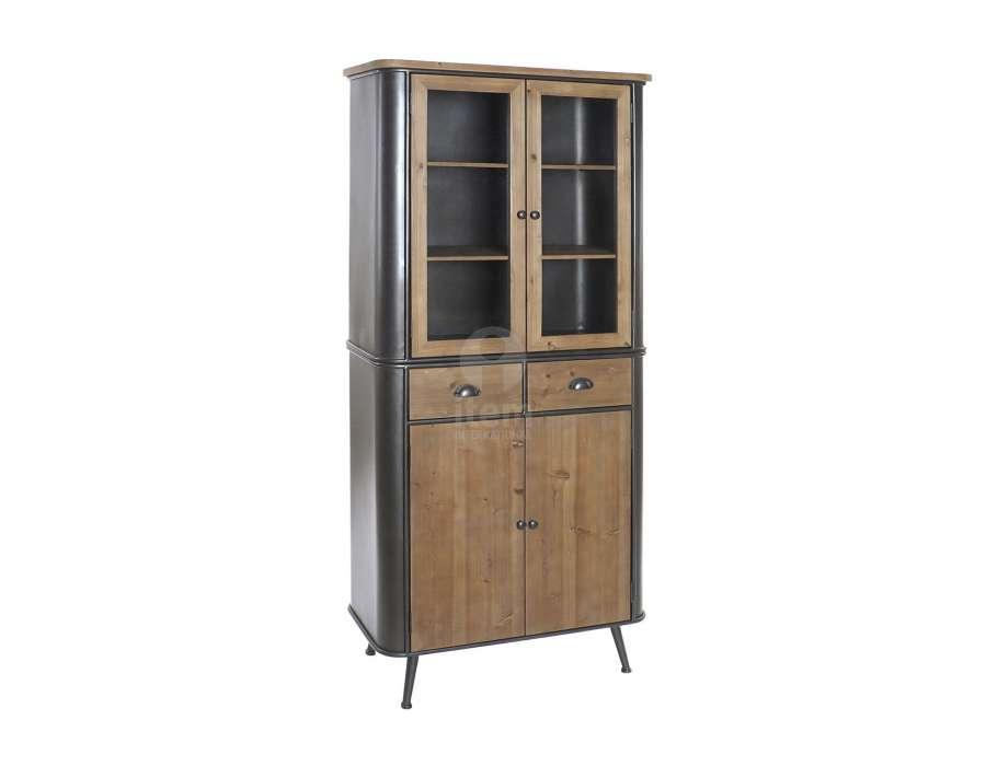 Armoire vintage vitrée en métal et bois arrondi