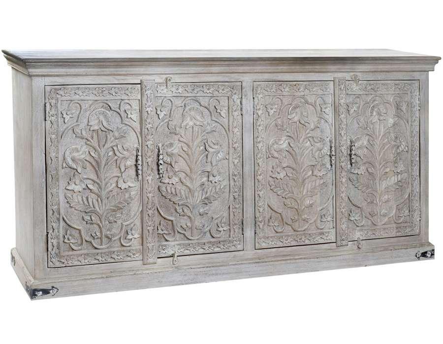 Grand buffet sculpté 4 portes oriental 188 cm