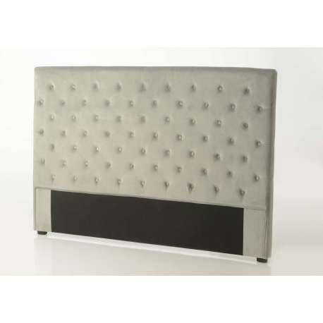 Tête de lit 180 cm gris capitonnée
