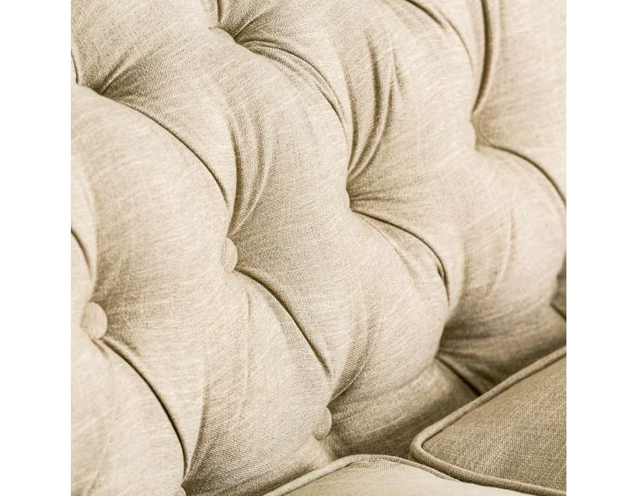 Canapé capitonné large chesterfield lin