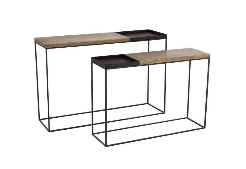 Set de 2 consoles en métal or/noir