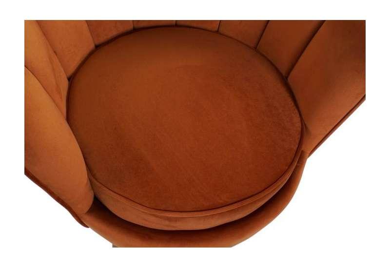 Fauteuil orange forme coquillage en velours grand modele