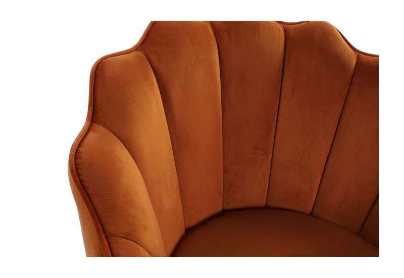 Fauteuil orange forme coquillage en velours grand modele
