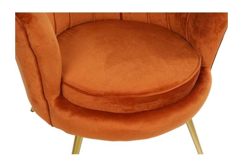 Fauteuil orange forme coquillage en velours