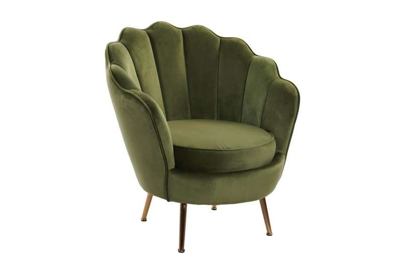 Fauteuil vert forme coquillage en velours grand modele