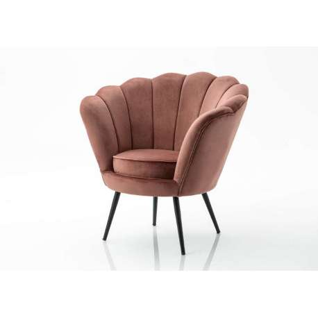 Fauteuil Coquillage velours rose